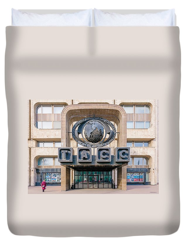 Moscow Duvet Cover featuring the photograph Itar-tass Press Agency by Alain De Maximy
