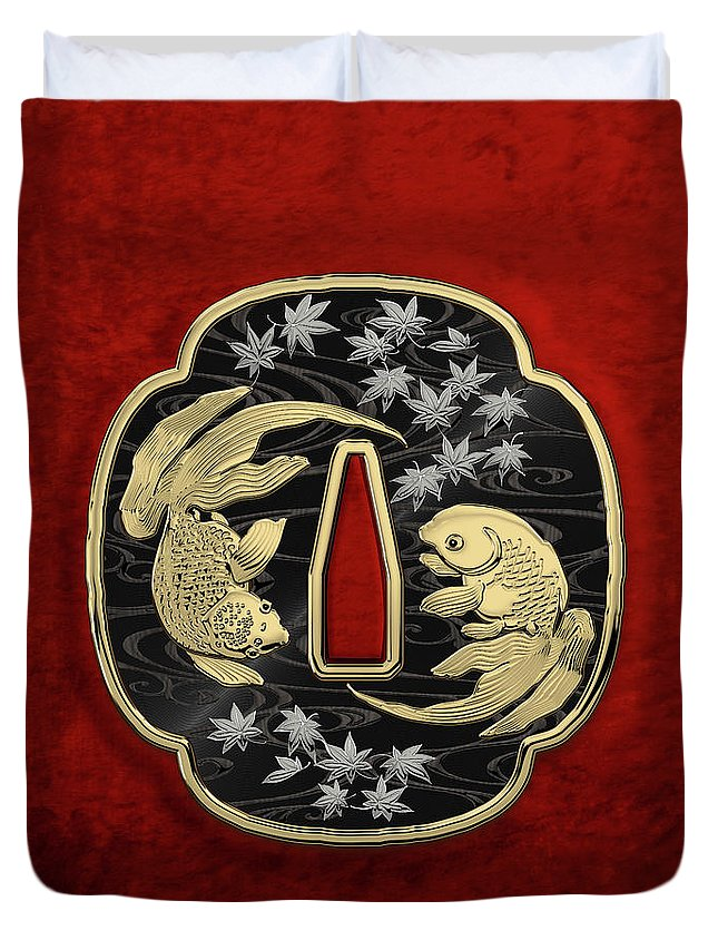 'treasures Of Japan' Collection By Serge Averbukh Duvet Cover featuring the photograph Japanese Katana Tsuba - Twin Gold Fish On Black Steel Over Red Velvet 1 by Serge Averbukh