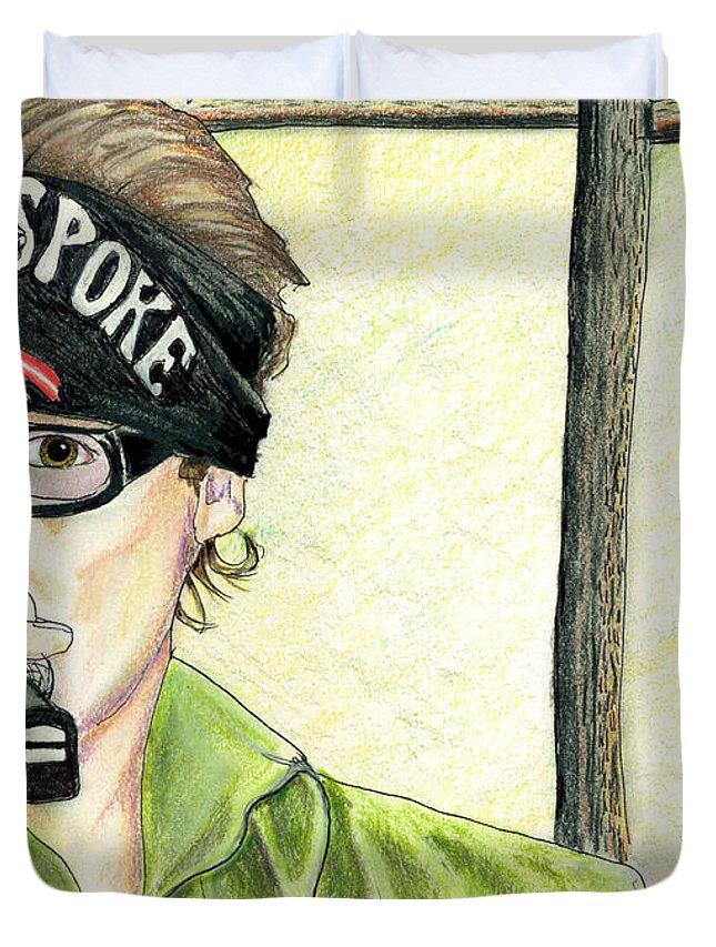 Jay Allen Duvet Cover featuring the painting Jay Allen At The Broken Spoke Saloon by Albert Puskaric