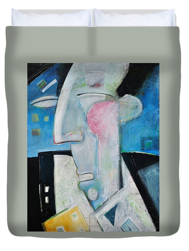 Jazz Duvet Cover featuring the painting Jazz Face by Tim Nyberg