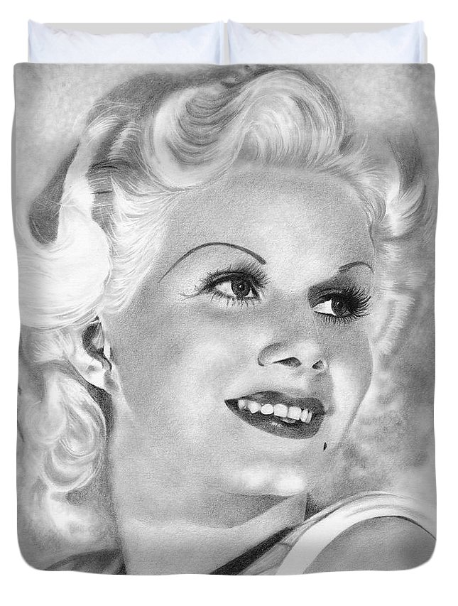 Jean Harlow Duvet Cover featuring the drawing Jean Harlow by Karen Townsend