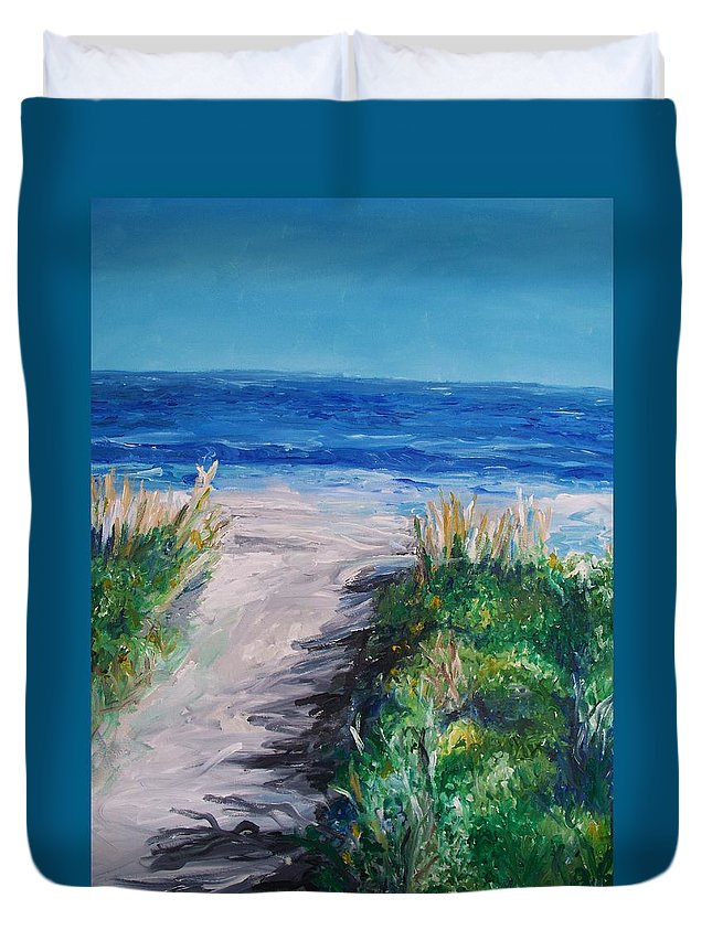Jersey Shore Duvet Cover featuring the painting Jersey Shore Dunes by Eric Schiabor