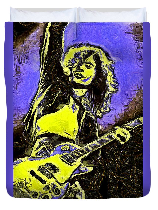 Jimmy Page Duvet Cover featuring the digital art Jimmy Page by Galeria Trompiz