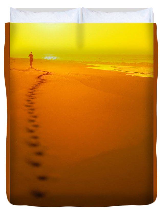 C1211 Duvet Cover featuring the photograph Jogging At Sunset by Dana Edmunds - Printscapes