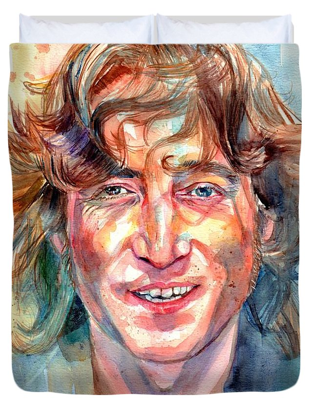 John Lennon Duvet Cover featuring the painting John Lennon portrait by Suzann Sines