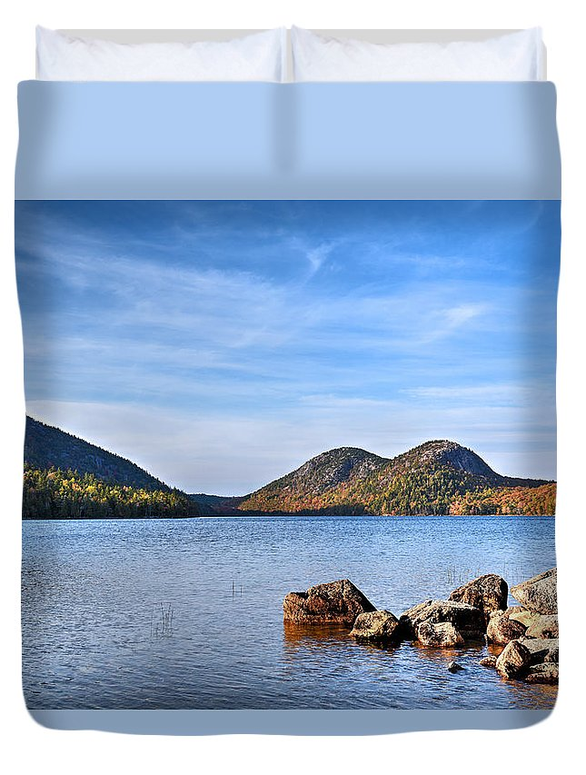 Acadia Duvet Cover featuring the photograph Jordan Pond No. 2 - Acadia - Maine by Geoffrey Coelho