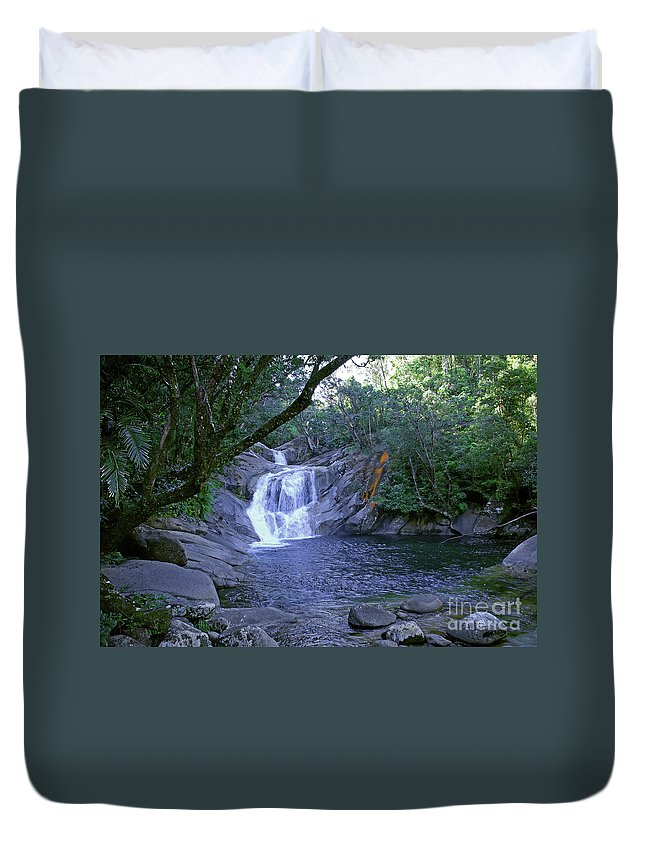 Tropical Duvet Cover featuring the photograph Josephine Falls And Tropical Pool by Kerryn Madsen- Pietsch