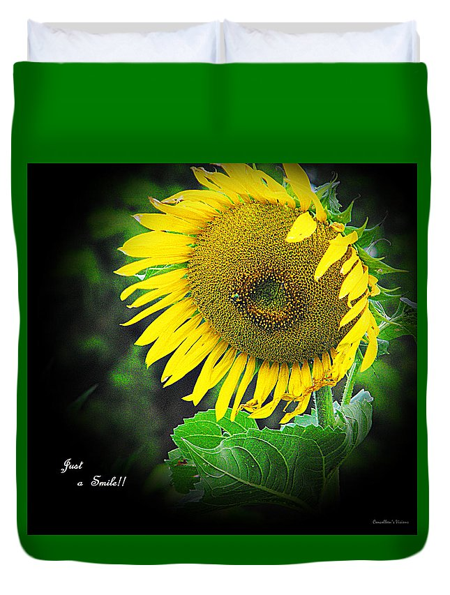 Smile Duvet Cover featuring the photograph Just A Smile by Concolleen's Visions Smith