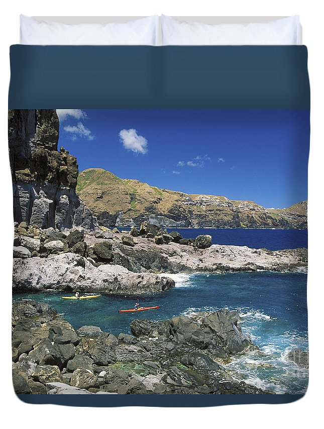 Blue Duvet Cover featuring the photograph Kayaking Along Coastline by Ron Dahlquist - Printscapes