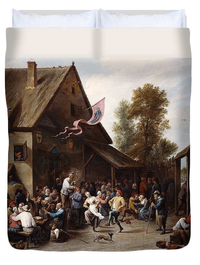 Animal Duvet Cover featuring the painting Kermis On St. George's Day by David Teniers the Younger
