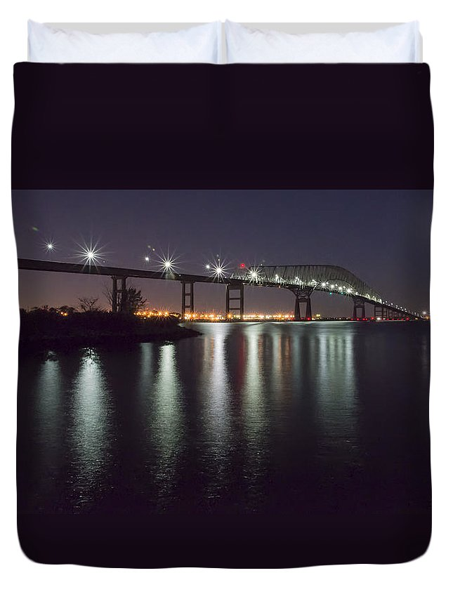 2d Duvet Cover featuring the photograph Key Bridge At Night by Brian Wallace