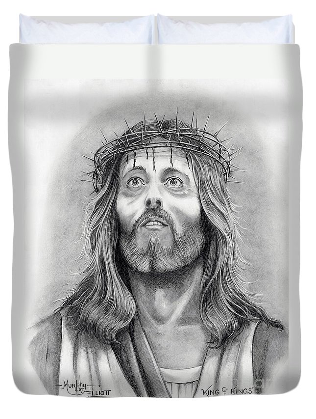 Jesus Christ Duvet Cover featuring the drawing King Of Kings by Murphy Elliott