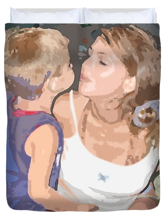Mother Duvet Cover featuring the photograph Kissing Mommy2 by Sabrina Wheeler