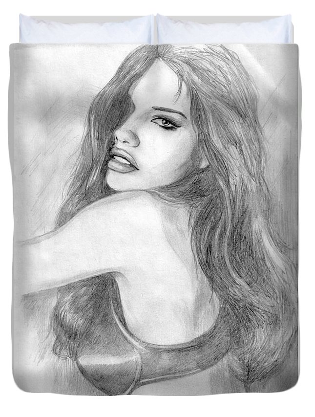 Adriana Lima Duvet Cover featuring the drawing 1 by Kristopher VonKaufman