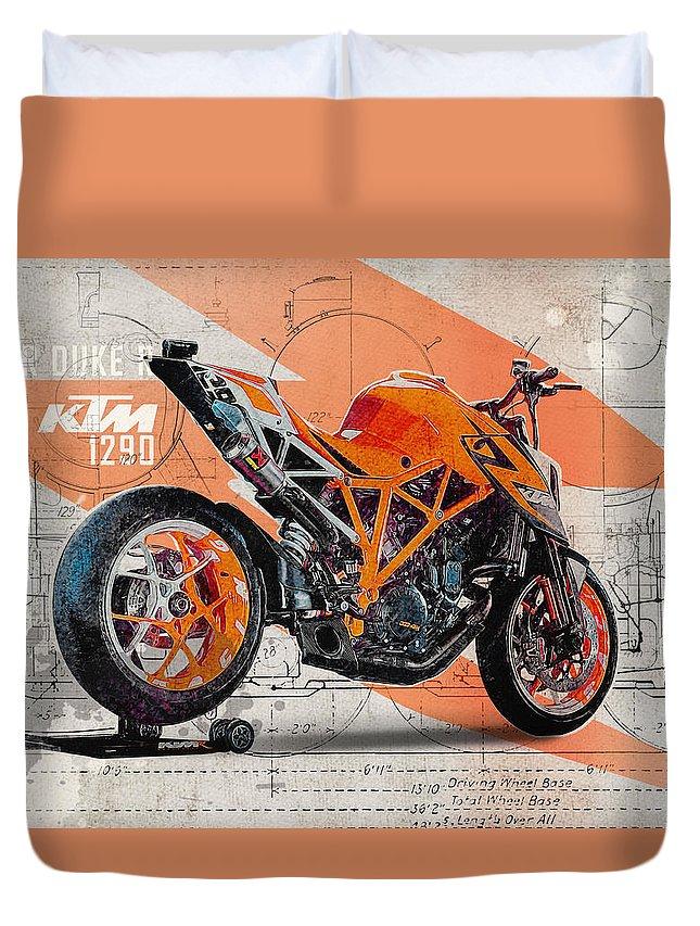Ktm Duvet Cover featuring the digital art Ktm 1290 Super Duke R by Yurdaer Bes