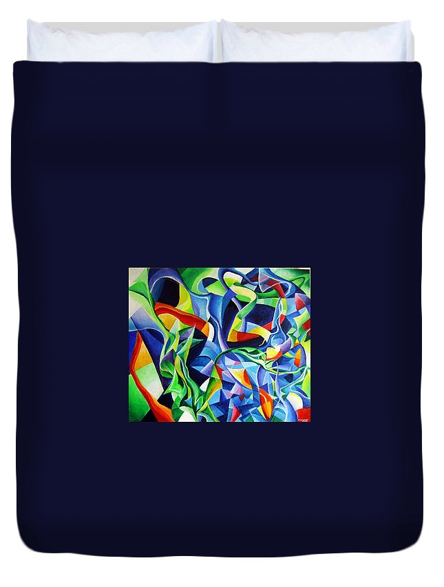 Claude Debussy Acrylic Abstract Pens Music Duvet Cover featuring the painting La Mer by Wolfgang Schweizer