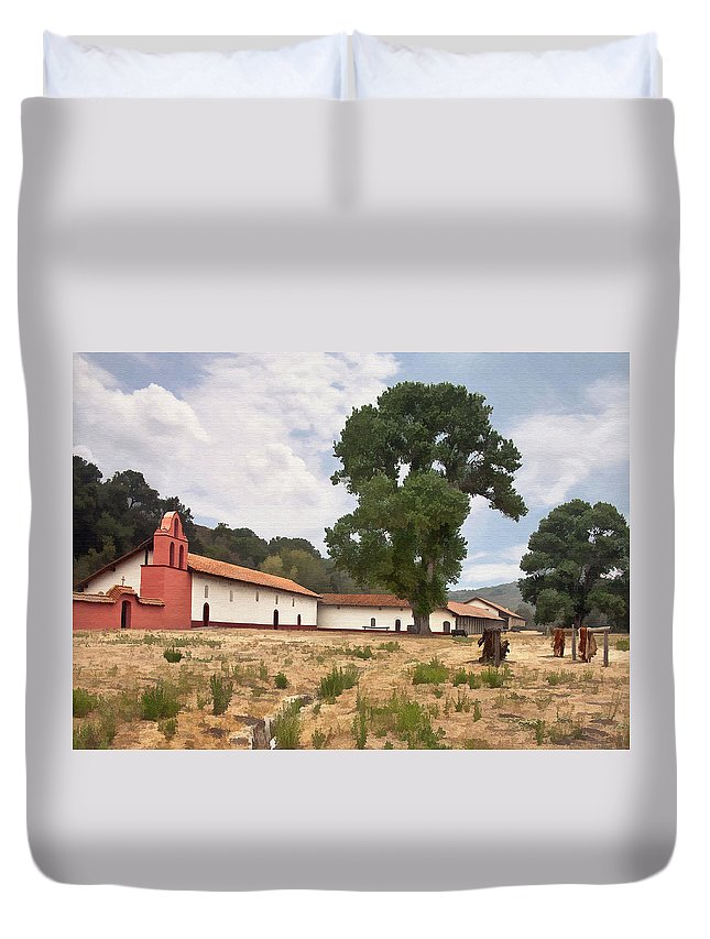 Mission Duvet Cover featuring the digital art La Purisima Mission II by Sharon Foster