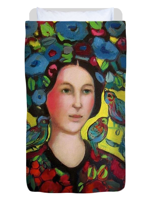 Marilene Sawaf Duvet Cover featuring the painting Lady and hat by Marilene Sawaf