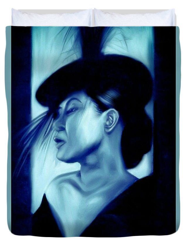 Jazz Singer Duvet Cover featuring the digital art Lady by Benjamin Greggory