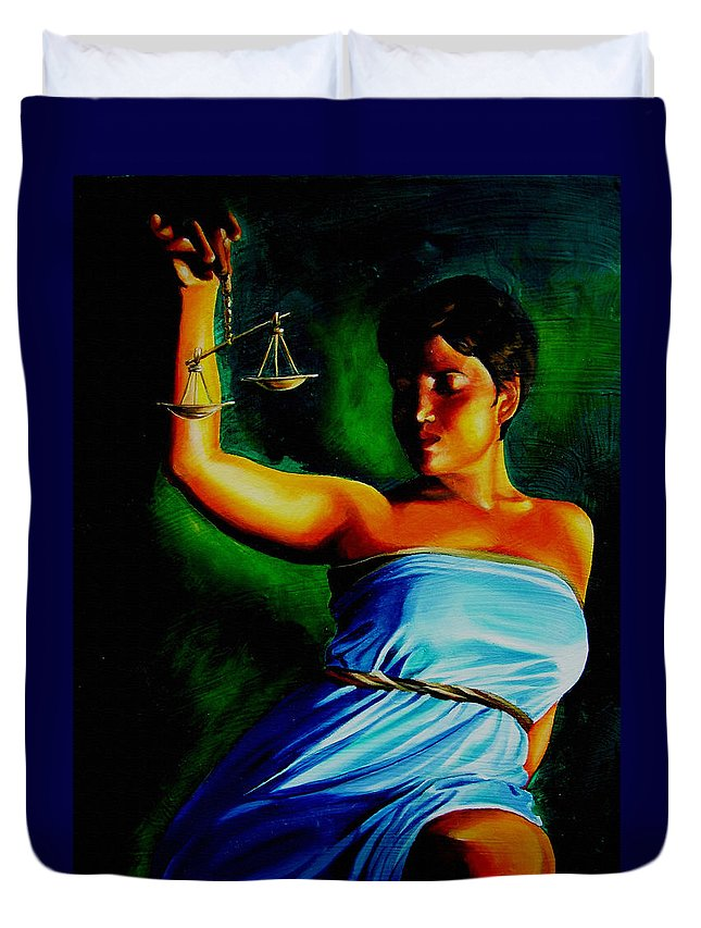 Law Art Duvet Cover featuring the painting Lady Justice by Laura Pierre-Louis