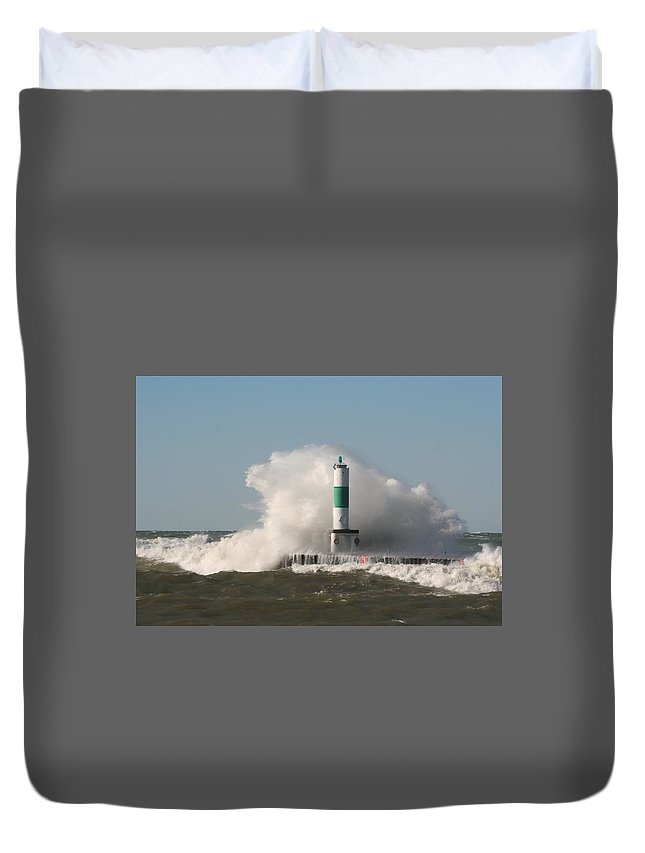 Water Duvet Cover featuring the photograph Lake Michigan Wave by John Knoppers