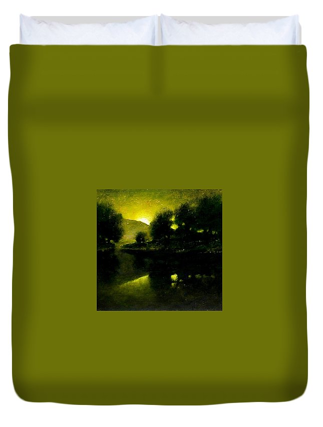 Tonalist Duvet Cover featuring the painting Lakeside Sunset by Jim Gola