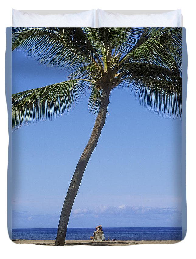 Alone Duvet Cover featuring the photograph Lanai, Manele Bay by Greg Vaughn - Printscapes