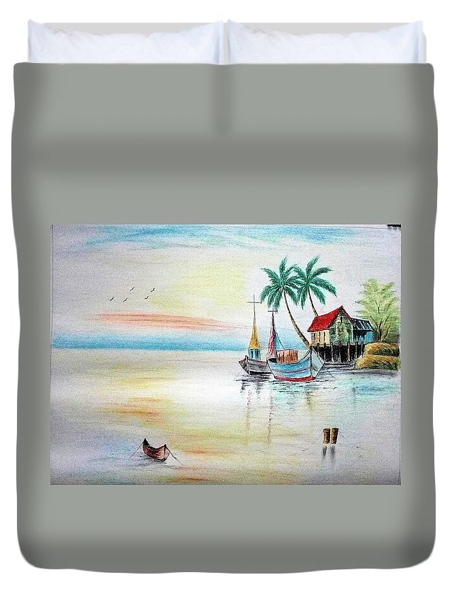 Landscape Duvet Cover featuring the painting Landscape by Mohamad Ali