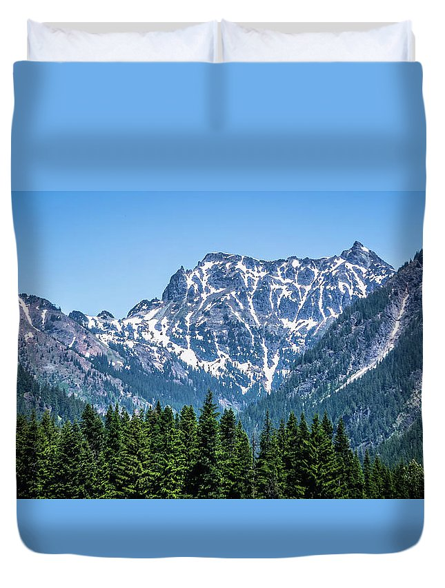 Keechelus Lake Duvet Cover featuring the photograph Landscape Nature Scenes Around Columbia River Washington State A by Alex Grichenko