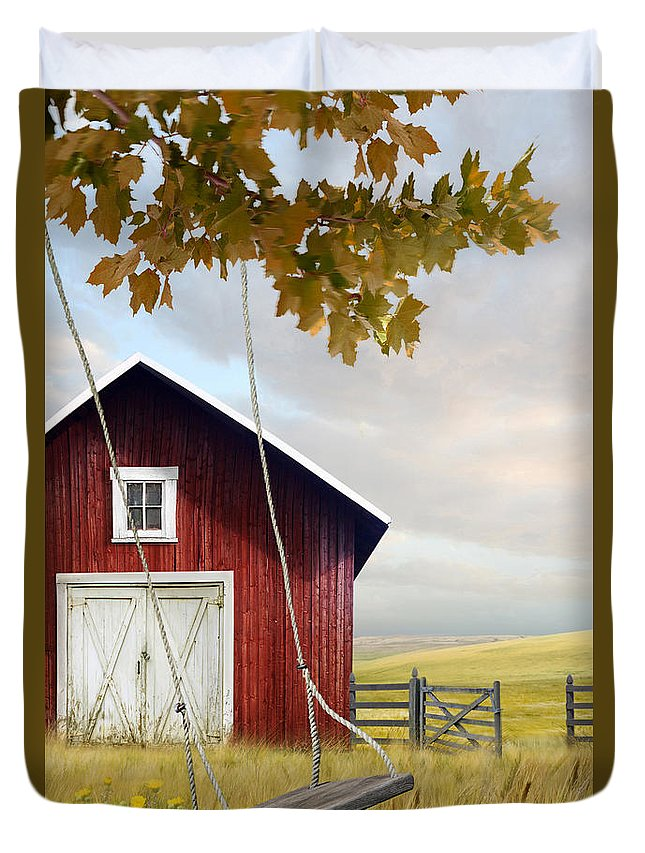 Atmosphere Duvet Cover featuring the photograph Large Red Barn With Bicycle In Field Of Wheat by Sandra Cunningham