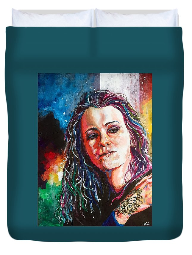 Portrait Duvet Cover featuring the painting Laura Jane Grace by Joel Tesch