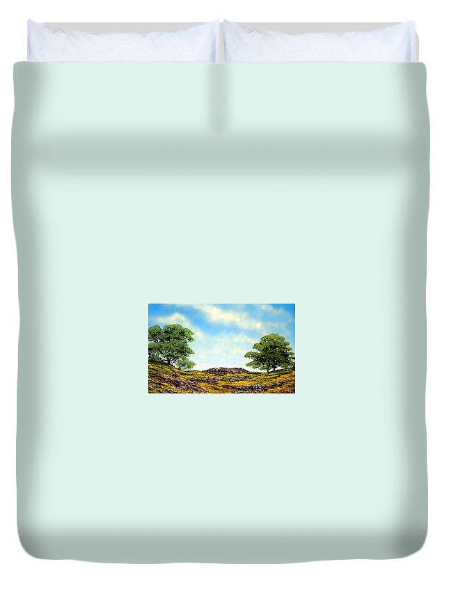 Wildflowers Duvet Cover featuring the painting Lava Rock And Flowers by Frank Wilson