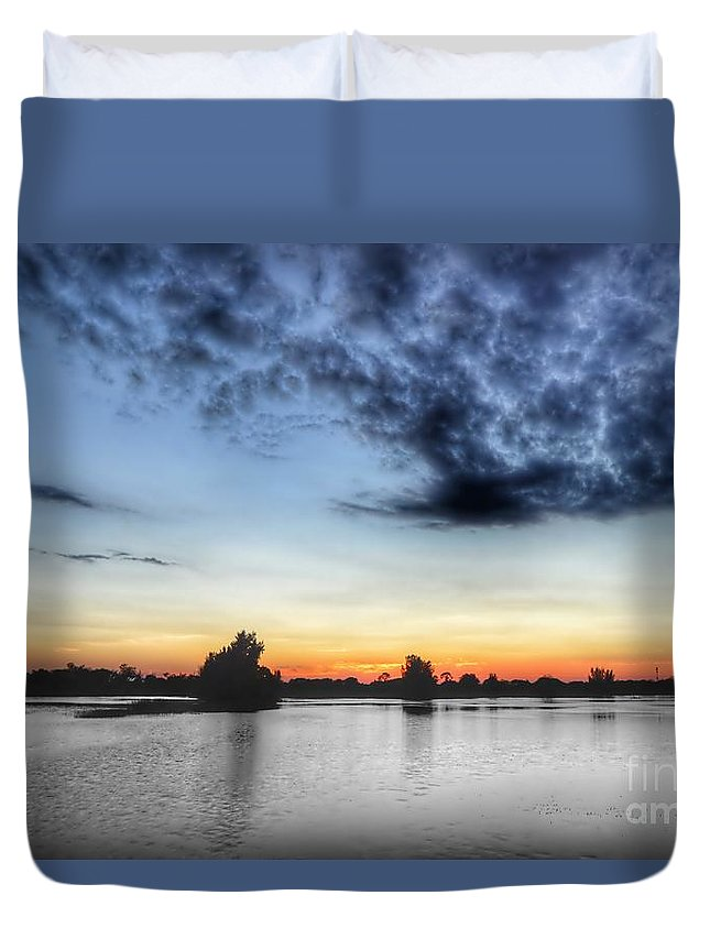 Sunset Duvet Cover featuring the photograph Layered Color by Glenn Forman