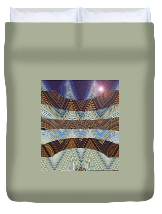 Abstract Duvet Cover featuring the digital art Layers Of Earth And Sky by Lenore Senior