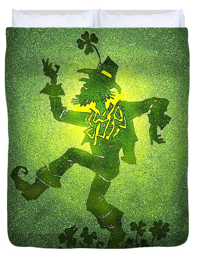 Leprechaun Duvet Cover featuring the painting Leprechaun by Kevin Middleton