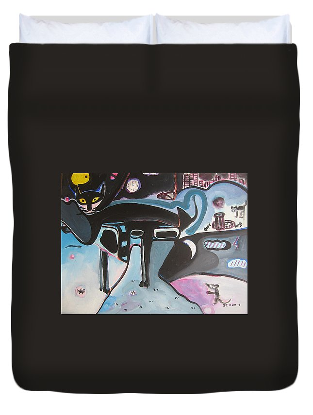 Cat Paintings Duvet Cover featuring the painting Let Me Out by Seon-Jeong Kim