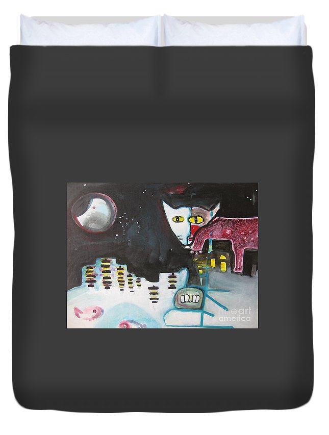 Cat Paintings Duvet Cover featuring the painting Let Me Out3 by Seon-Jeong Kim