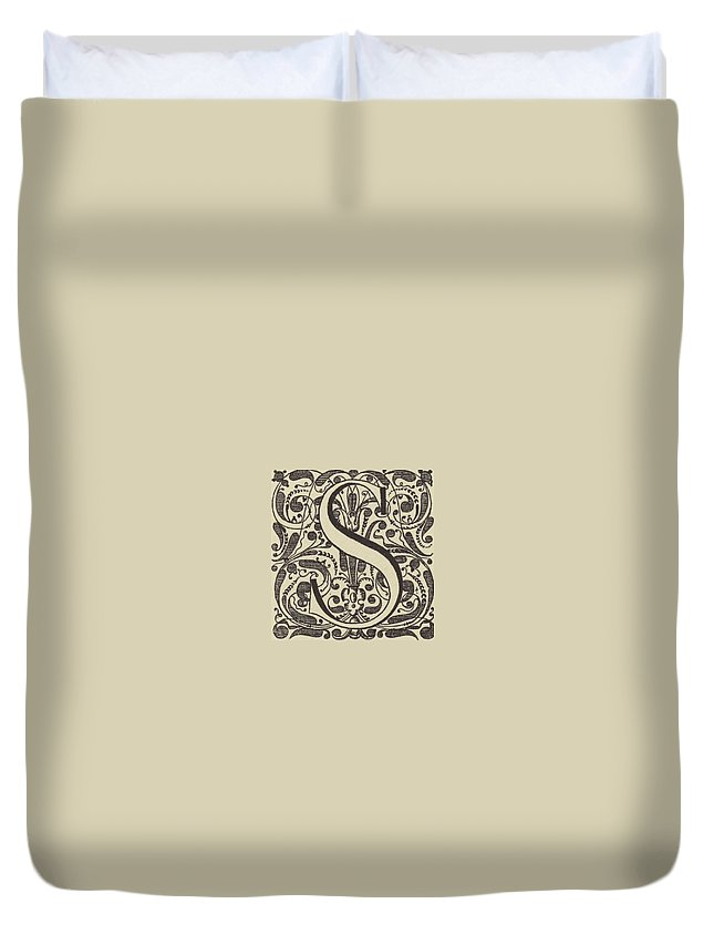 French Renaissance Duvet Cover featuring the drawing Letter S by French School