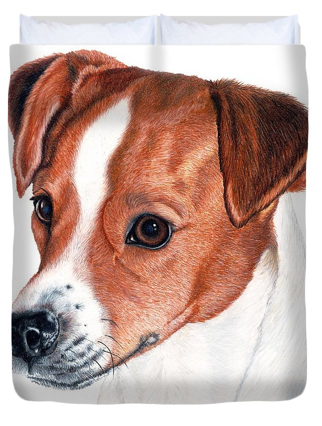 Jack Russell Terrier Duvet Cover featuring the drawing Lewie by Kristen Wesch