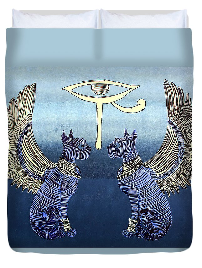 Egyptian Duvet Cover featuring the painting Lib-291 by Artist Singh