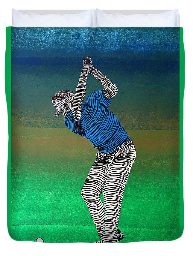 Golfer Duvet Cover featuring the painting Lib-581 by Artist Singh