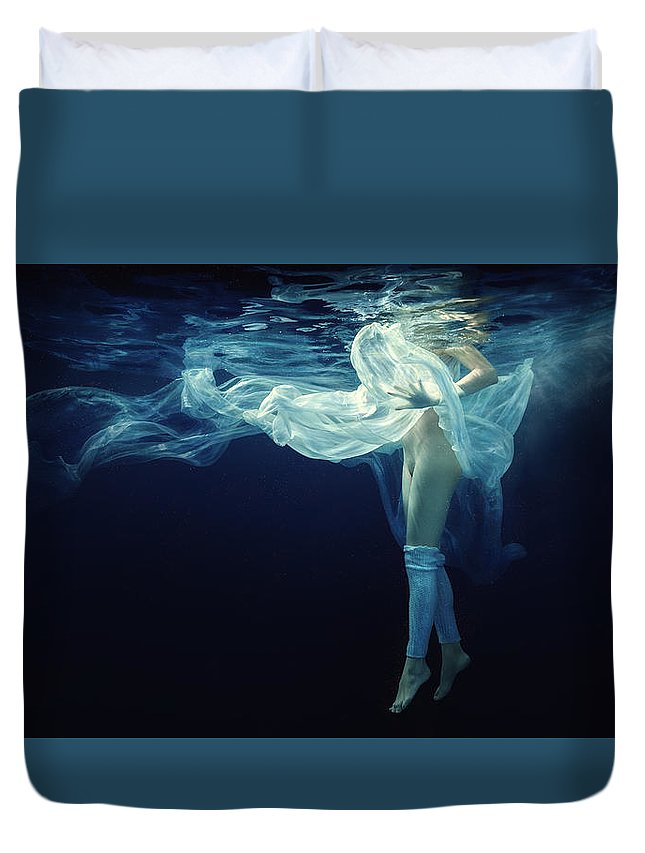 Girl Duvet Cover featuring the photograph Light And Darkness by Dmitry Laudin
