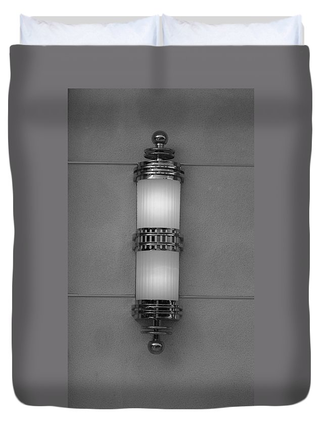 Sconce Duvet Cover featuring the photograph Lighted Wall Sconce by Rob Hans