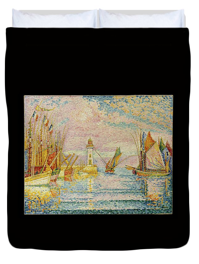 Paul Signac Lighthouse At Groix Duvet Cover featuring the painting Lighthouse At Groix by Paul Signac