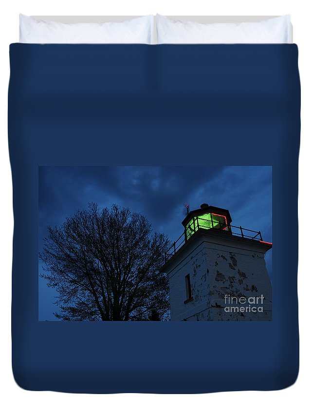 Beacon Duvet Cover featuring the photograph Lighthouse At Night by Joe Ng