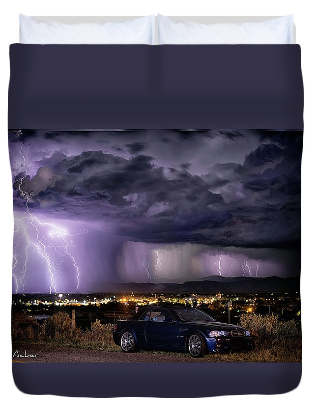 Lightning Storm Duvet Cover featuring the photograph Lightning Storm by Aaron Acker