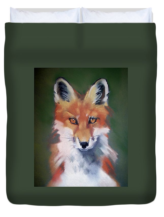 Young Fox Duvet Cover featuring the pastel Lil' Rudy by Marika Evanson
