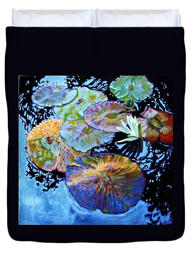 Water Lilies Duvet Cover featuring the painting Lily Pad Palettes by John Lautermilch