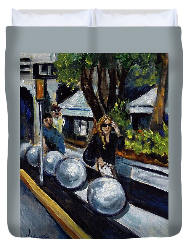 Sobe Duvet Cover featuring the painting Lincoln Road by Valerie Vescovi