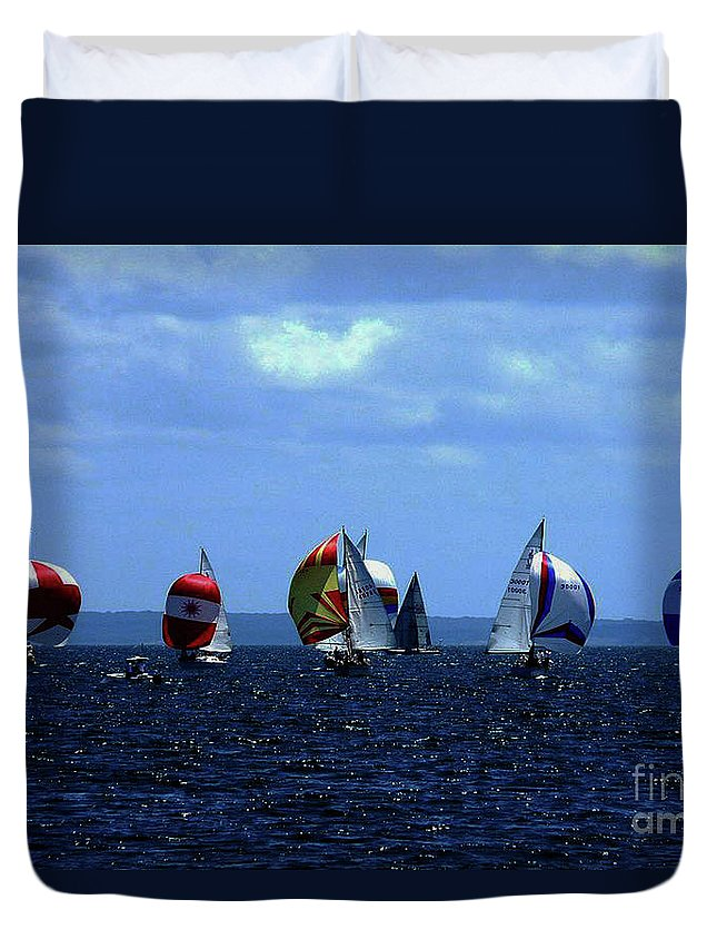 Sailboats Duvet Cover featuring the photograph Line Up by Kendall EUTEMEY